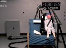 Side Crash test of dummy in forward facing child car seat